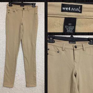Wet Seal Dark Khaki Color Jeggings Tan Pants Sz XS